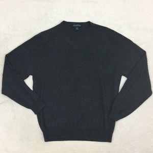 Brooks Brothers Medium Gray Wool V Neck Sweater